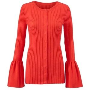 cAbi Trumpet Sleeve Ribbed Red Cardigan Sweater